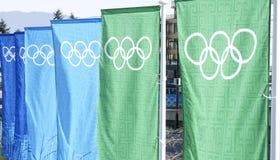 Drapeaux Vancouver de Jeux Olympiques Photos stock