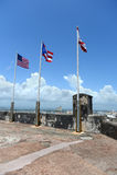 Drapeaux volant au Porto Rico Images libres de droits