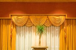 Draped curtains stock photo
