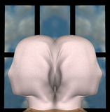 Draped figures. Identical female figures with heads draped with cloth. 3d illustration Stock Photography