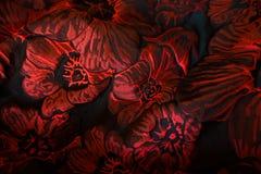 Draperat matelassejacquardtyg med den blom- modellen i rött och svart arkivbilder