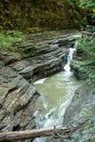 Draperende waterval in Nauwe valleikreek in Watkins Glen State Park New York royalty-vrije stock foto's