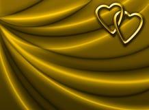 Draperie d'or avec des coeurs Photos libres de droits