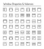 Draperies окна и valances Элементы дизайна интерьера Линия ic Стоковая Фотография RF
