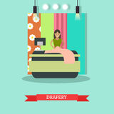 Drapery concept vector illustration in flat style Stock Photo