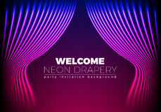 Drapery futuristic background with 80s style neon lines. Welcomi. Ng drapes for cover or party invitation made in new retro wave trend Royalty Free Stock Images