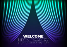 Drapery futuristic background with 80s style neon lines. Welcomi Stock Photo