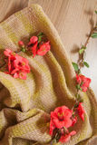 Drapery with garnet flowers. Colorful background with garnet flowers Royalty Free Stock Photo