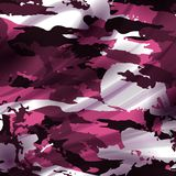 Drapery pink camouflage fabric textile background. Military pattern Stock Photography