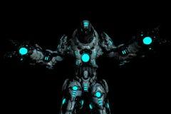 Drapieżnika czarny i błękitny rozjarzony robot w ciemnym tle z szerokimi rękami otwiera royalty ilustracja