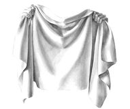 Draping cloth material folds held in hands. Black and white hand drawn clip art of hands holding a draped cloth with folds and wrinkles in the silky materiel or Stock Photo