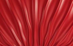 Drappi e tessuto di seta rossi sul pavimento 3d rendono Fotografie Stock
