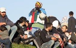 Drastische Bilder von der slowenischen Flüchtlingskrise stockbilder