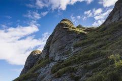 Drastische gerundete, getragene Felsen bedeckt in der Vegetation Lizenzfreie Stockfotos