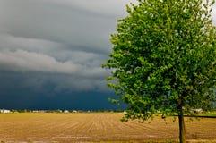 Drastische landwirtschaftliche Landschaft vor Sturm Lizenzfreie Stockbilder