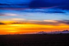 Drastische vibrierende Sonnenunterganglandschaft in Yuma, Arizona lizenzfreie stockfotografie