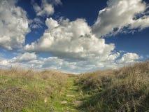 Drastischer blauer Himmel mit weißen Wolken über den Ruinen der altgriechischen Kolonie von Histria, auf den Ufern von Schwarzem  Lizenzfreies Stockfoto