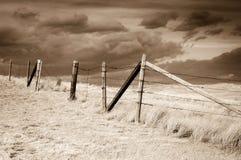 Drastischer Himmel auf ländlichen Wiesen, Colorado, Vereinigte Staaten, Sepiaversion Lizenzfreies Stockfoto