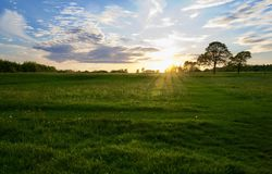Drastischer Himmel an der Dämmerung über Landschaftsfeldern im Sommer lizenzfreie stockbilder