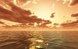 drastischer Sonnenuntergang 3D über dem Ozean lizenzfreie abbildung