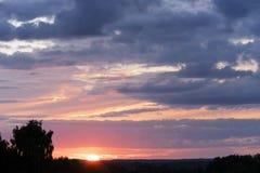 Drastischer Sonnenunterganghimmel mit Schattenbild des Baums Lizenzfreies Stockfoto