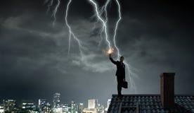 Drastischer Wetterhintergrund Gemischte Medien Stockfotos