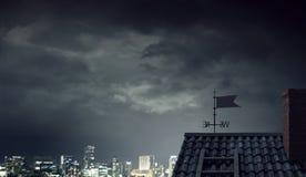 Drastischer Wetterhintergrund Gemischte Medien Stockbild