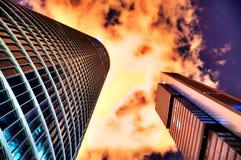 Drastischer Wolkenkratzer Madrid Stockfoto