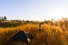draußen kampierender Grashochlandberg im Sonnenuntergang Lizenzfreie Stockbilder