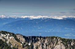 Drau, Drava dolina z śnieżnymi szczytami Nockberge/, Gurktal Alps, A Zdjęcie Royalty Free