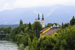 Drau river in Villach, Carinthia, Austria Stock Photo