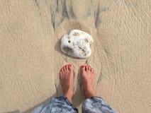 Draufsicht über weibliche Beine und Füße am Strand lizenzfreie stockbilder