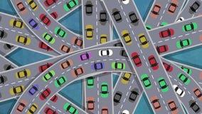 Draufsicht über das starker Verkehr-Auto-Fahren in Schnitt in der Hauptverkehrszeit - schlingend stock footage