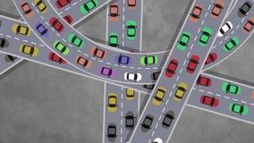 Draufsicht über das starker Verkehr-Auto-Fahren in Schnitt in der Hauptverkehrszeit - schlingend stock video footage