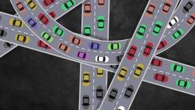 Draufsicht über das starker Verkehr-Auto-Fahren in Schnitt in der Hauptverkehrszeit - schlingend stock video