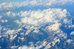 Draufsicht über die Alpen Stockbild