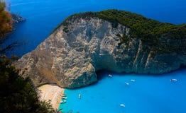 Draufsicht über Schiffbruch-Strand oder Navagio Baeach auf Zakynthos-Insel, Griechenland lizenzfreie stockfotos