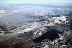 Draufsicht über Seen in den Bergen Petron und Vegoritis, Griechenland Lizenzfreie Stockfotografie