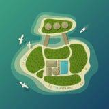 Draufsicht über Tropeninsel oder Insel mit Regenschirm auf Sandstrand und Bungalow mit Pool, Wald oder Holz, Boot oder Yacht Stockbilder