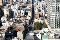 Draufsicht über Wohngebäude in Tokyo Stockfotografie