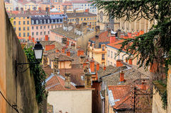 Draufsicht alter Stadt Lyons, Frankreich Lizenzfreie Stockfotografie
