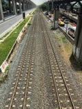 Draufsicht Bahnstrecken in Bangkok Lizenzfreies Stockbild