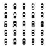 Draufsicht-bunte Autos Glyph-Ikonen Stock Abbildung