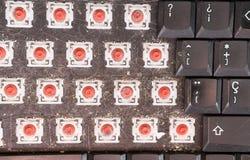 Draufsicht der abgebauten schmutzigen Tastatur, Nahaufnahme Stockfoto