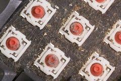 Draufsicht der abgebauten schmutzigen Tastatur, Nahaufnahme Lizenzfreie Stockfotografie