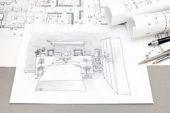 Draufsicht der architektonischen von Hand gezeichneten Skizze, des Planes und des penci Lizenzfreies Stockfoto