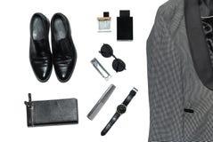 Draufsicht in der Art, in der Mode, in der Kleidung und in der Art der Männer stockfotografie