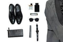 Draufsicht in der Art, in der Mode, in der Kleidung und in der Art der Männer stockfoto