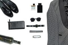 Draufsicht in der Art, in der Mode, in der Kleidung und in der Art der Männer stockbilder