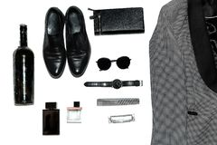 Draufsicht in der Art, in der Mode, in der Kleidung und in der Art der Männer lizenzfreie stockbilder
